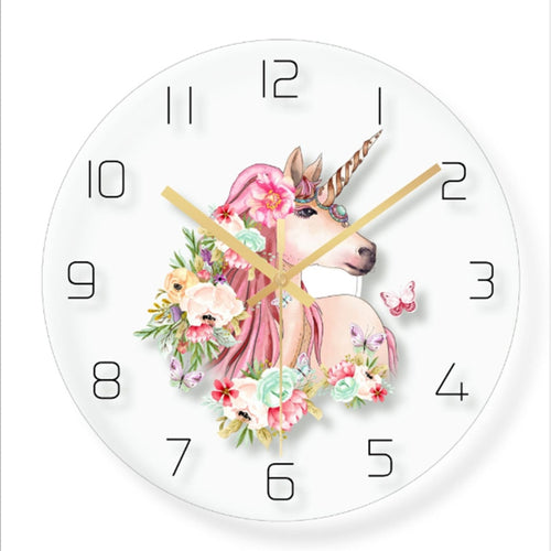Wall clock Minimalist quartz watch flower unicorn picture Wall Clocks Home Decoration Living Room Silent 12 inch