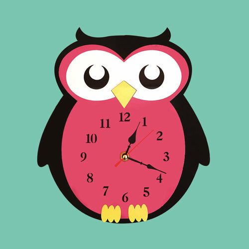 2018 New Hot Sale Kids Room Creative Wall Clock Cartoon Owl Mute Clocks Colorful Acrylic Wall Watch Unique Gift For Children