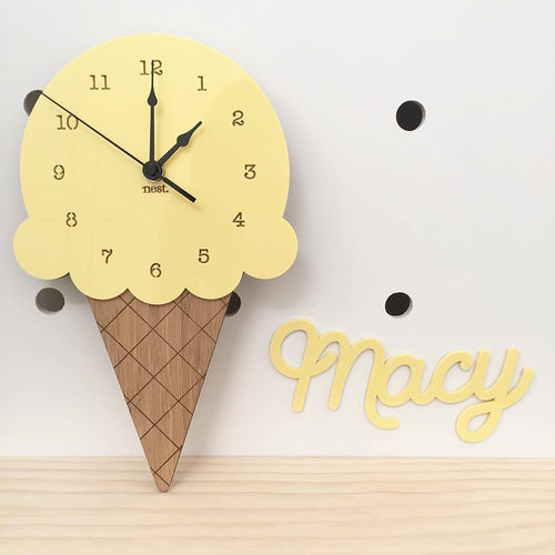 Nordic Ice Cream Wall Clocks Cartoon Mute Watch Wall Home Decor Kids Room Wall Decoration Cute Ornament Baby Gift Reloj De Pared