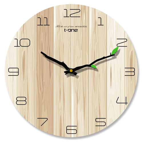 2019Wood grain Wall Clock Living Room Bedroom Mute Clock Wooden Creative Modern Minimalist Home European Clocks Free shipping