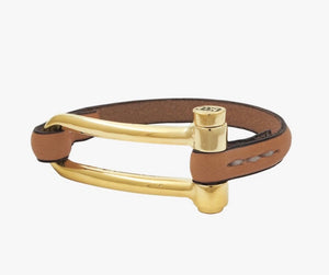 Zamak Closure Leather Strap Bracelet