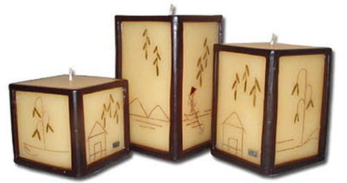 Bahay Kubo, square candle set of 3