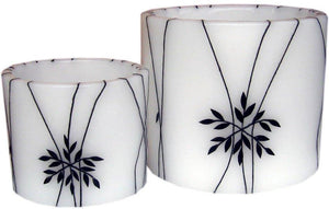 Black flower Hurricane Candle set