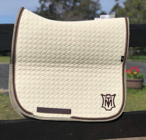Load image into Gallery viewer, E.A. Mattes Dressage Square Saddle Pad Large / Champagne
