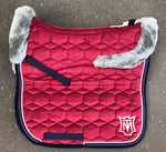 E.A.Mattes Dressage Square Large Saddle Pad Velvet w/ SheepSkin Panels and Top Front & Rear Trim