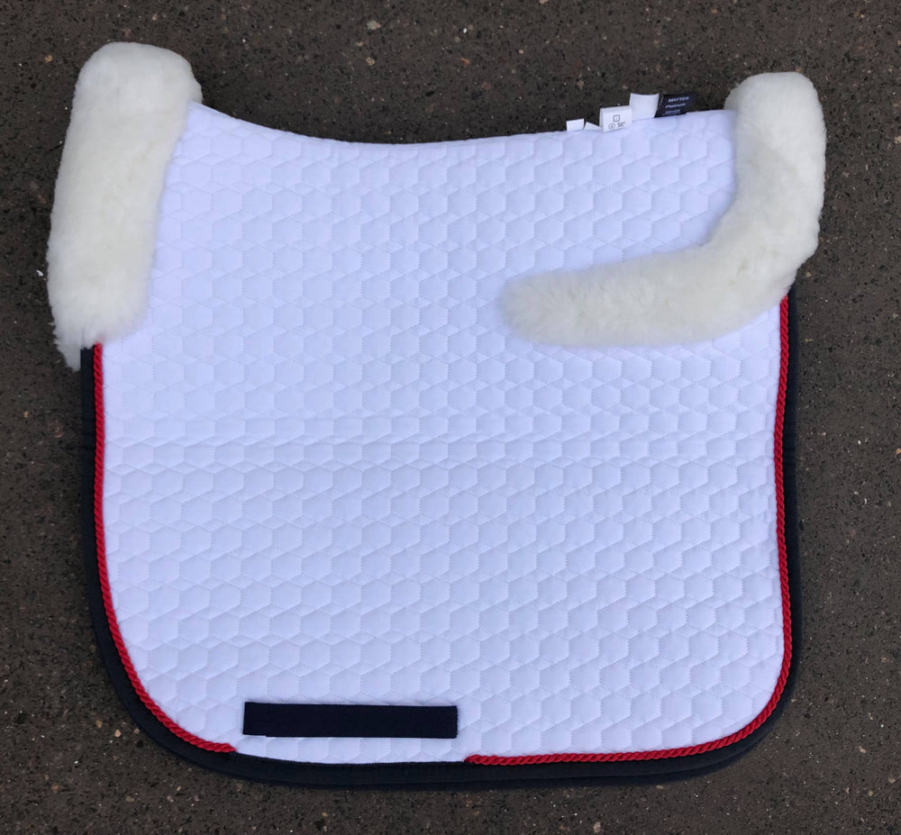 E.A. Mattes Dressage Square Saddle Pad / Large White with Top Sheepskin