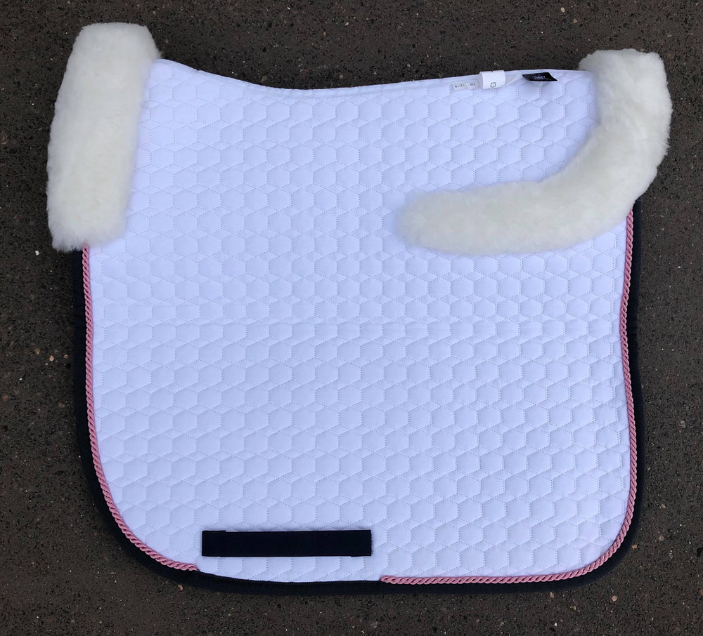 E.A. Mattes Dressage Square Saddle Pad / Large White with Top Sheepskin - NextGen Equine