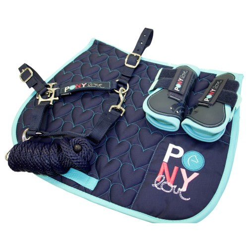 Bambino Navy Pony Pack - Saddle Pad, Halter & Lead, & Boots