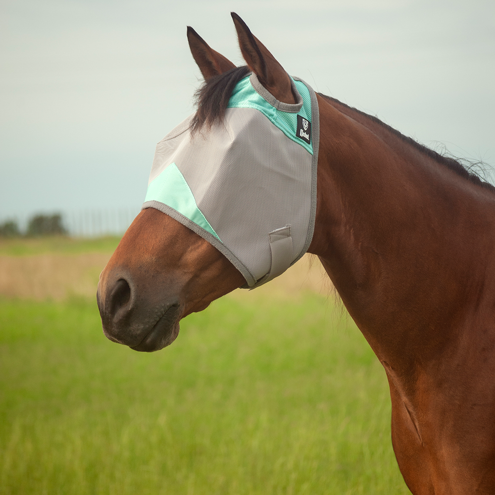 Cashel Crusader Fly Mask Standard Grey & Mint Size: Small Horse/Cob