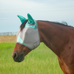 Cashel Crusader Fly Mask w/ Ears Grey & Mint Size: Small Horse/Cob