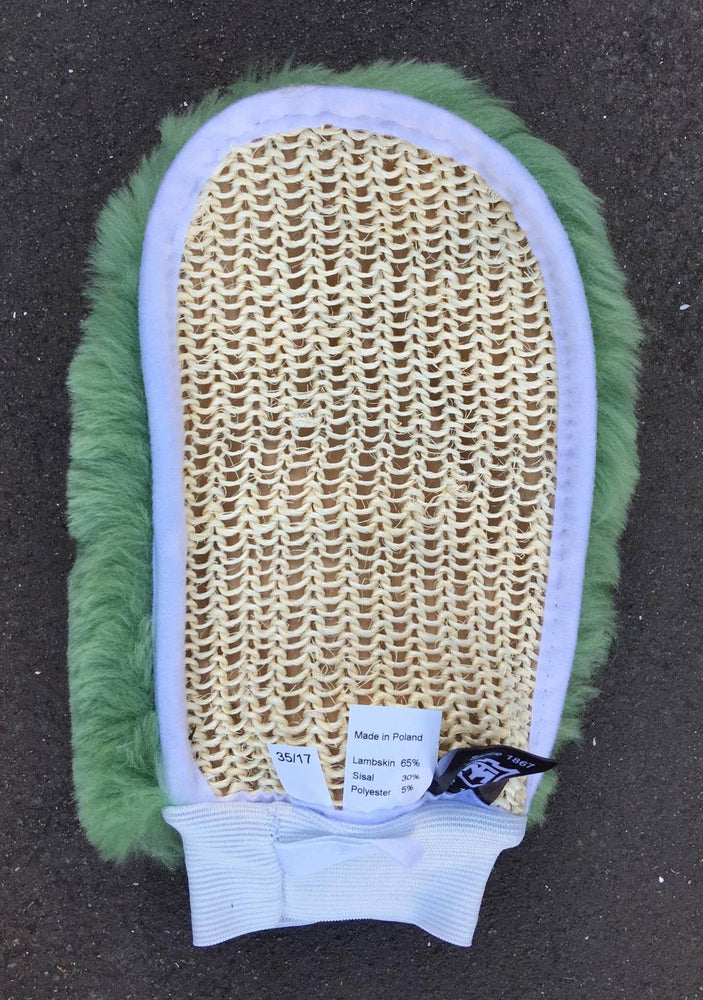 Load image into Gallery viewer, E.A. Mattes Sheepskin & Knitted Cactus Grooming Mitt Various Colours - NextGen Equine