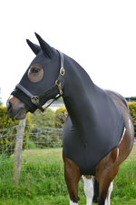 HorzeHood Jet Black NO EARS [Size: S: Approx 5'0/5'3 rug (Section A Size)] - NextGen Equine