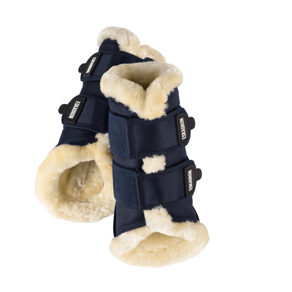 Load image into Gallery viewer, Eskadron Faux Fur Tendon Boots Navy - NextGen Equine