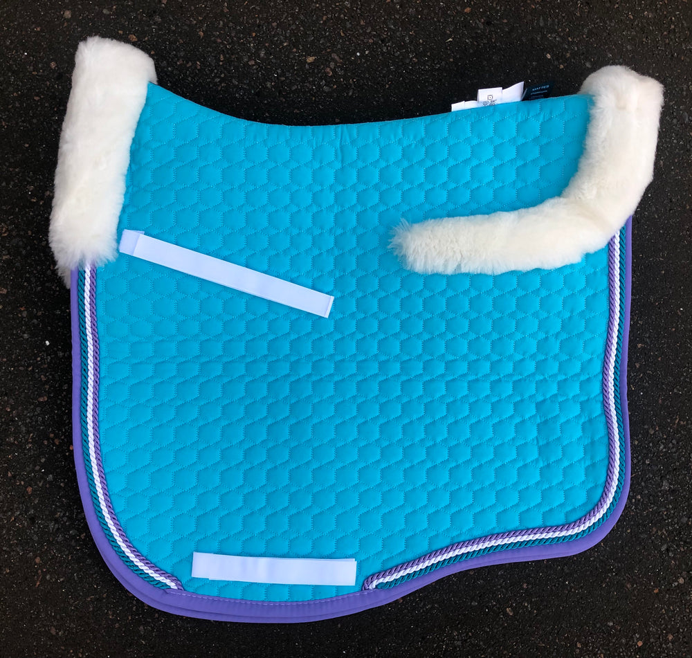 E.A.Mattes Eurofit Dressage Pad Sheepskin on Top Large / Turquoise