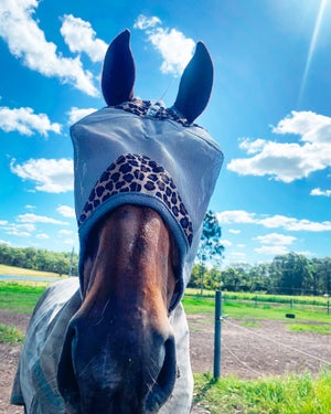 Load image into Gallery viewer, Cashel Crusader Fly Mask Standard Grey & Leopard