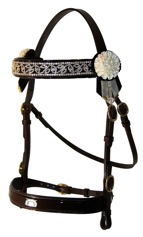 White Horse Equestrian Patent Leather In-Hand Bridle & Butterfly Lead - NextGen Equine