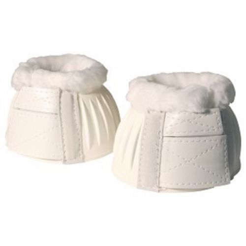 Ribbed Bell Boots w/Fleece Double Velcro White Medium Pair - NextGen Equine