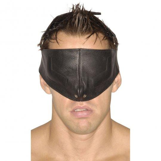 Kinky blindfold genuine leather mask