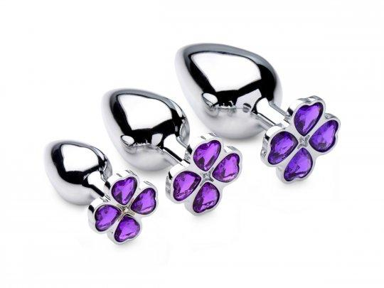 Luxury Set of 3 Crystal Violet Flower Hearts Metal Anal Plugs