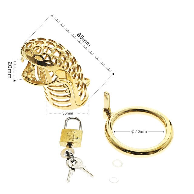 golden cobra chastity device cock cage