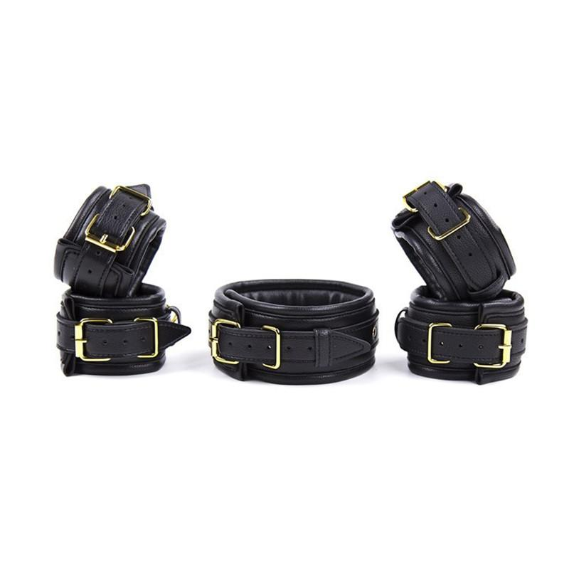 Leather bdsm set handcuffs collar