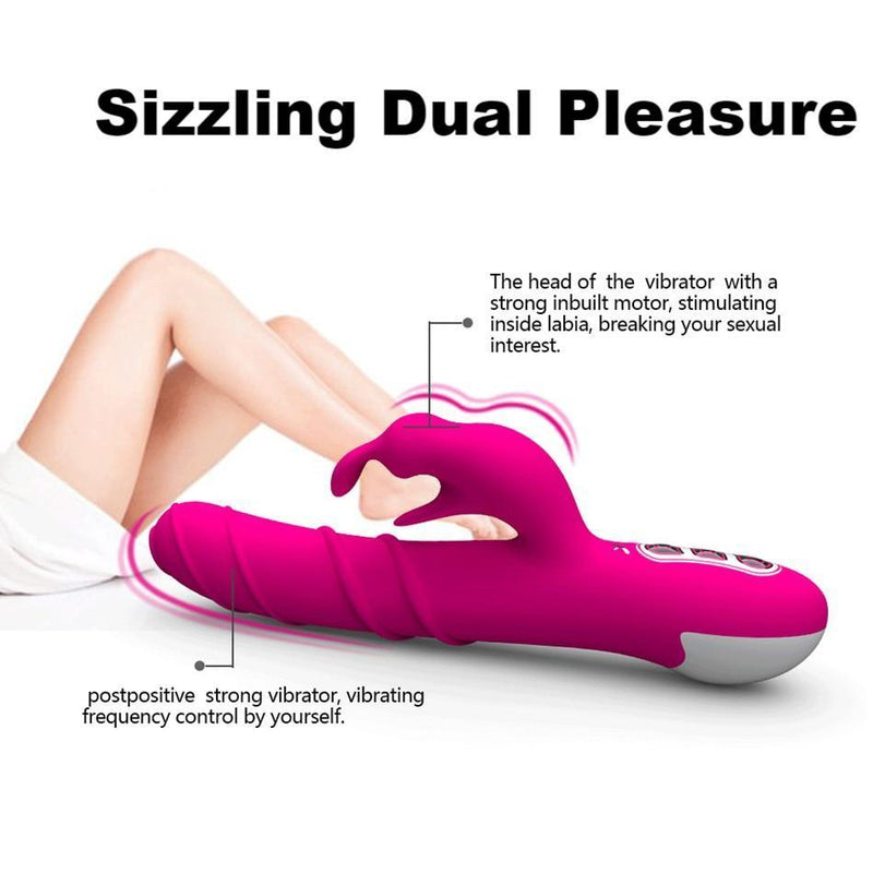 Dual Pleasure 360 Rotation & Vibration Rabbit Vibrator Clitoris Stimulator G-Spot
