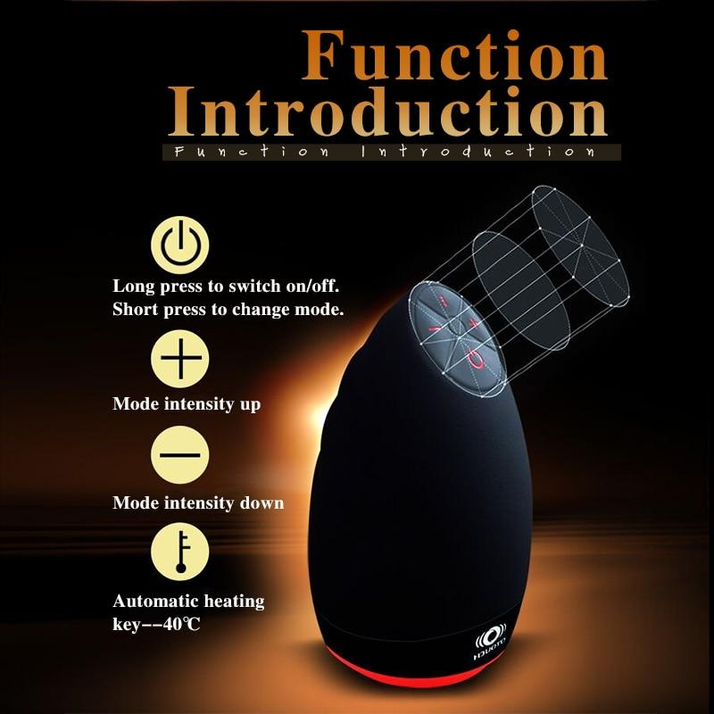 Intelligent Heating Oral Cup Men Masturbator with 6 Speeds