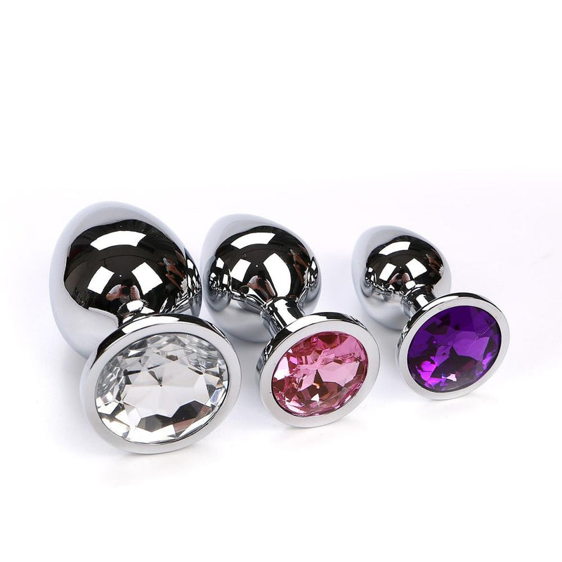 4 pcs/Set Crystal Metal Anal Plugs Vibrator Sex Toys