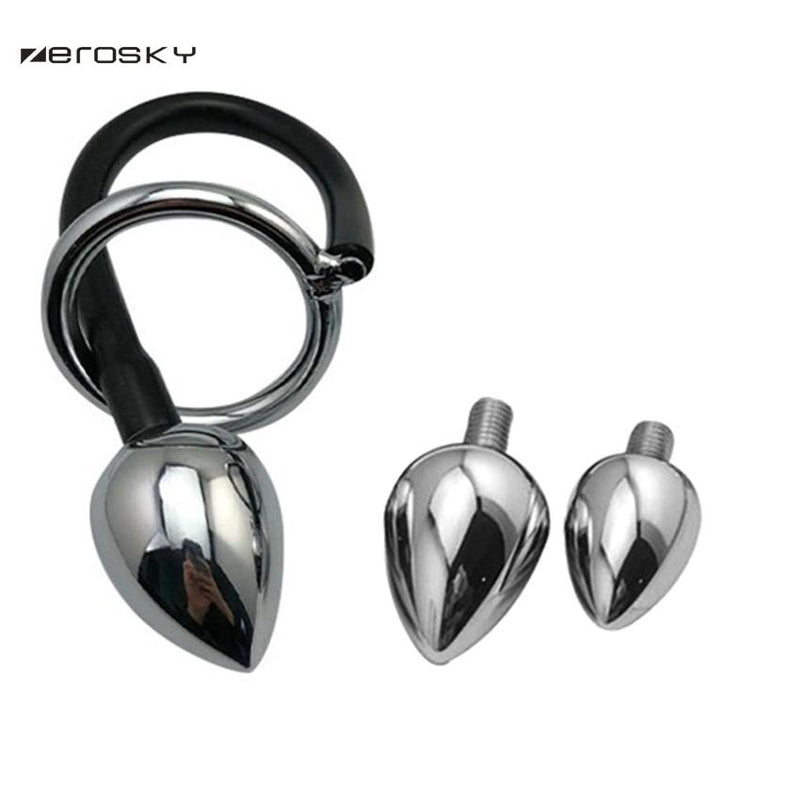 Cock Ring with Stainless Steel Anal Plug Various Sizes