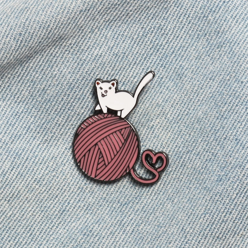 Little Kitten Big Ball Of Yarn Enamel Pin