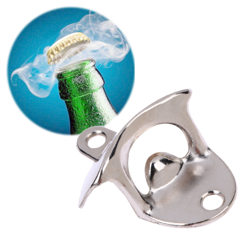 Steel Wall Mounted Beer Bottle Opener Great For Drunks Who Misplace Things