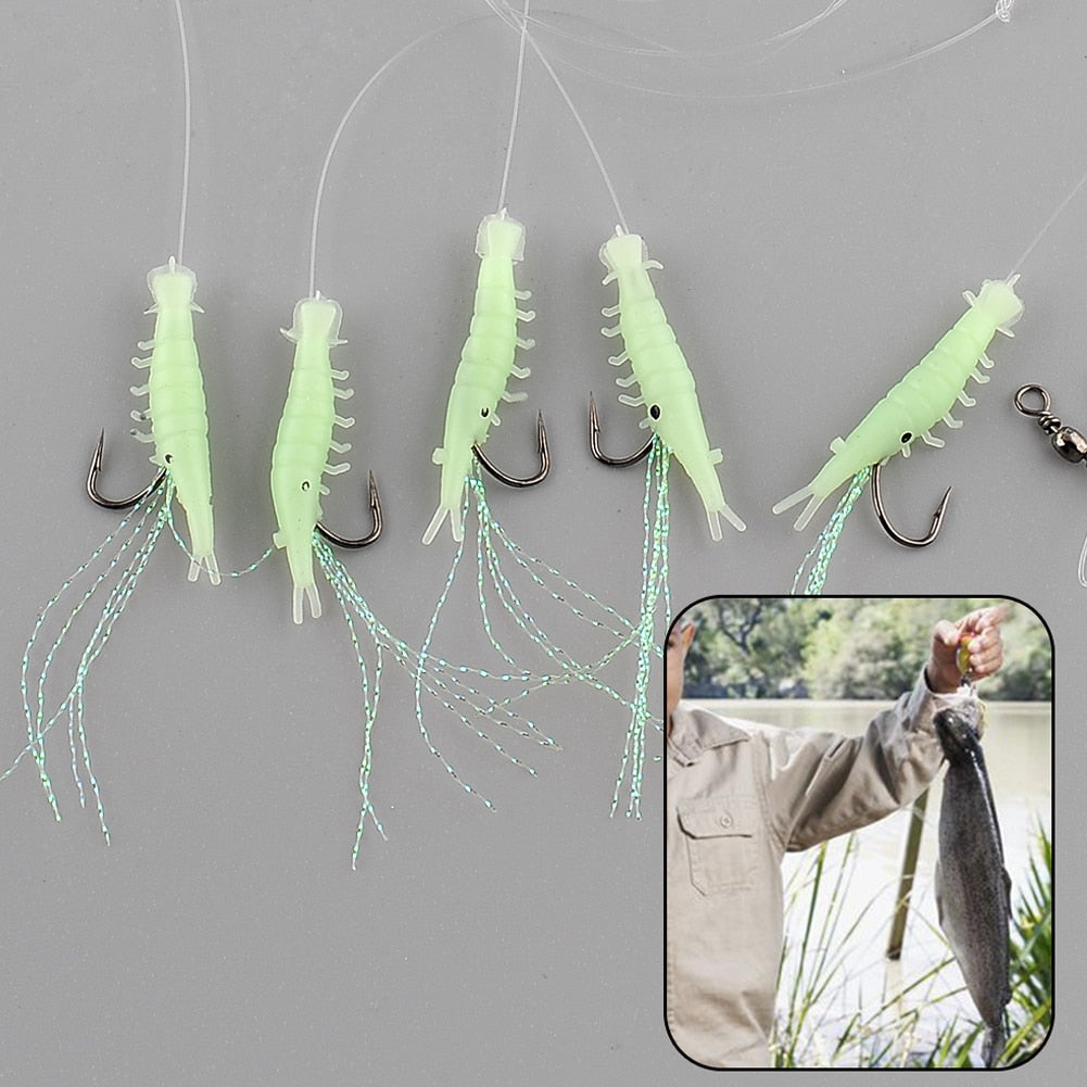 5pcs  Glow In The Dark Luminous Shrimp Soft Lures
