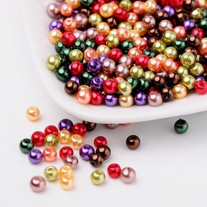 4/6/8mm Hot Mix Pearlized Glass Pearl Loose Jewelry Making DIY Bijoux Accessories Findings Ball Beads for Bracelet Necklace