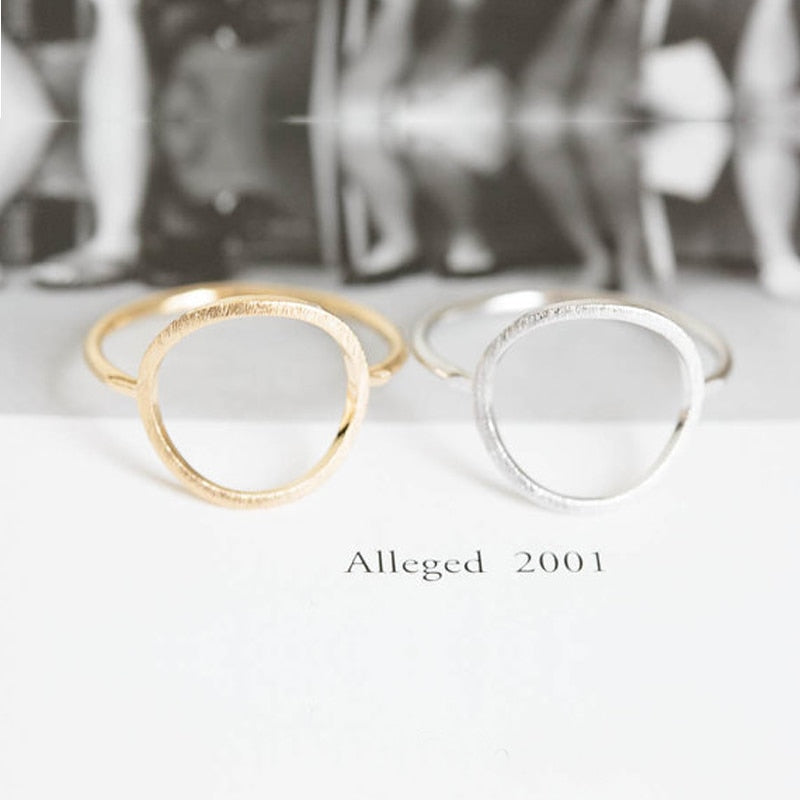 SMJEL Silver Simple Brushed Karma Circle Rings for Women Trendy Round Party Wedding Band Jewelry Durable Rings Bijoux R027