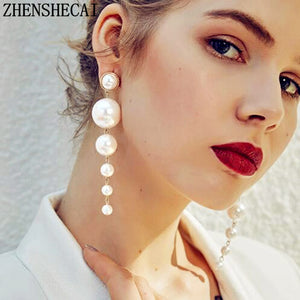 Elegant Big Simulated Pearl Earrings