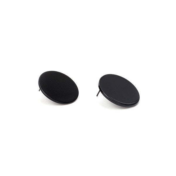 Poputton Silver Gold Color Big Round Stud Earrings for Women Jewelry Minimalist Fashion Female Black Round Sequin Earrings 2018