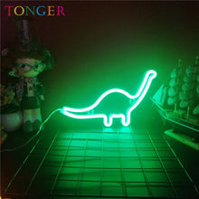 Load image into Gallery viewer, TONGER Neon Sign Light dinosaur Shape Design Room Wall Decorations Home Love Ornament Coffee Bar Mural Crafts Home Decor Lamp