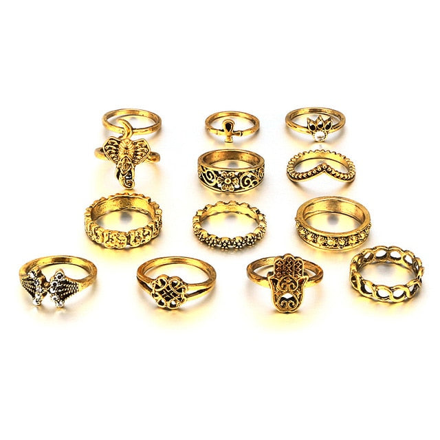 HuaTang Antique Gold Silver Moon Crown Crystal Ring Knuckle Wedding Ring Set Steampunk Anillos Anel Rings Jewelry 4096