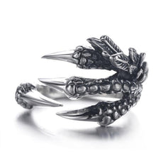Load image into Gallery viewer, Punk Silver Dragon Claws Ring, it is also GOTH