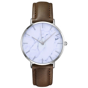 Slim Leather Classic Marble Style Leather Watch - Relojes Mujer