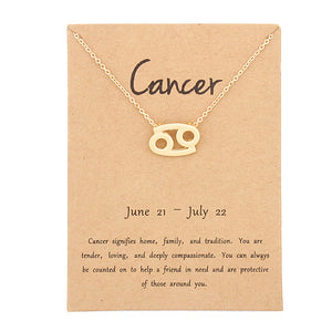 Zodiac Pendant Necklace With Birthday Card! (all signs available)