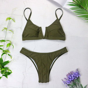 👙 Push Up V Neck Brazilian Bikini Set 🍹