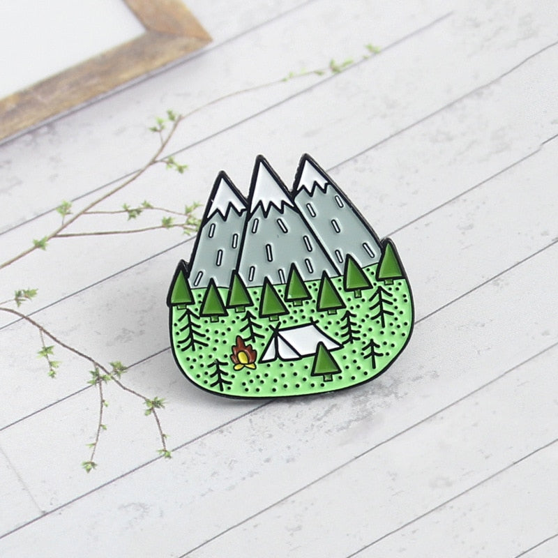 🏕️⛰️Camping In The Mountains Enamel Pin⛰️🏕️