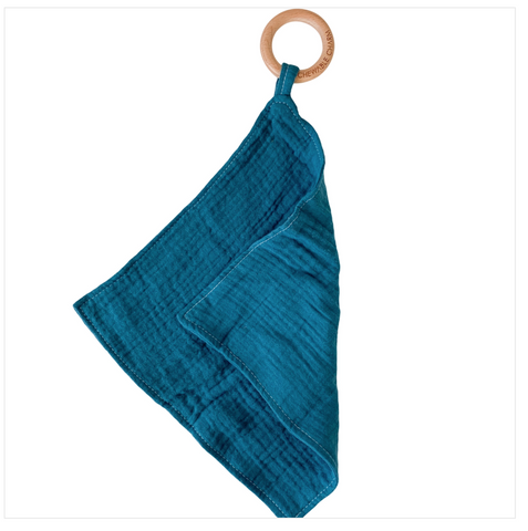 Muslin Teething Ring- Chambray Indigo