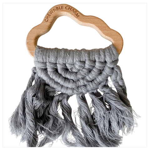 Cloud Macrame Teether- Grey