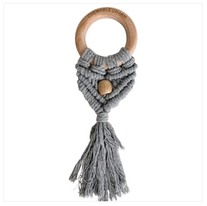 Celeste Macrame Teether + Bead -Grey