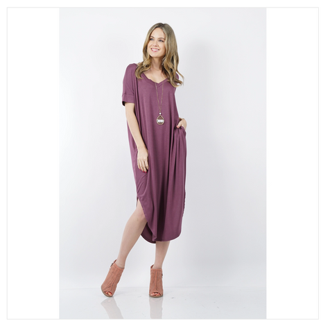 V-Neck Short Sleeve Round Hem Dress with Slits & Pockets