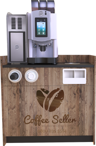 Self Serve bean to Cup Coffee Machine with base cabinet