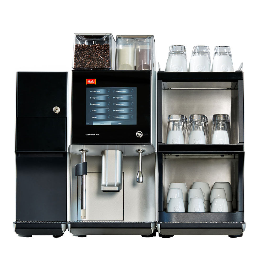 Front view of Melitta XT6 Coffee Machine with milk cooler and cup warmer