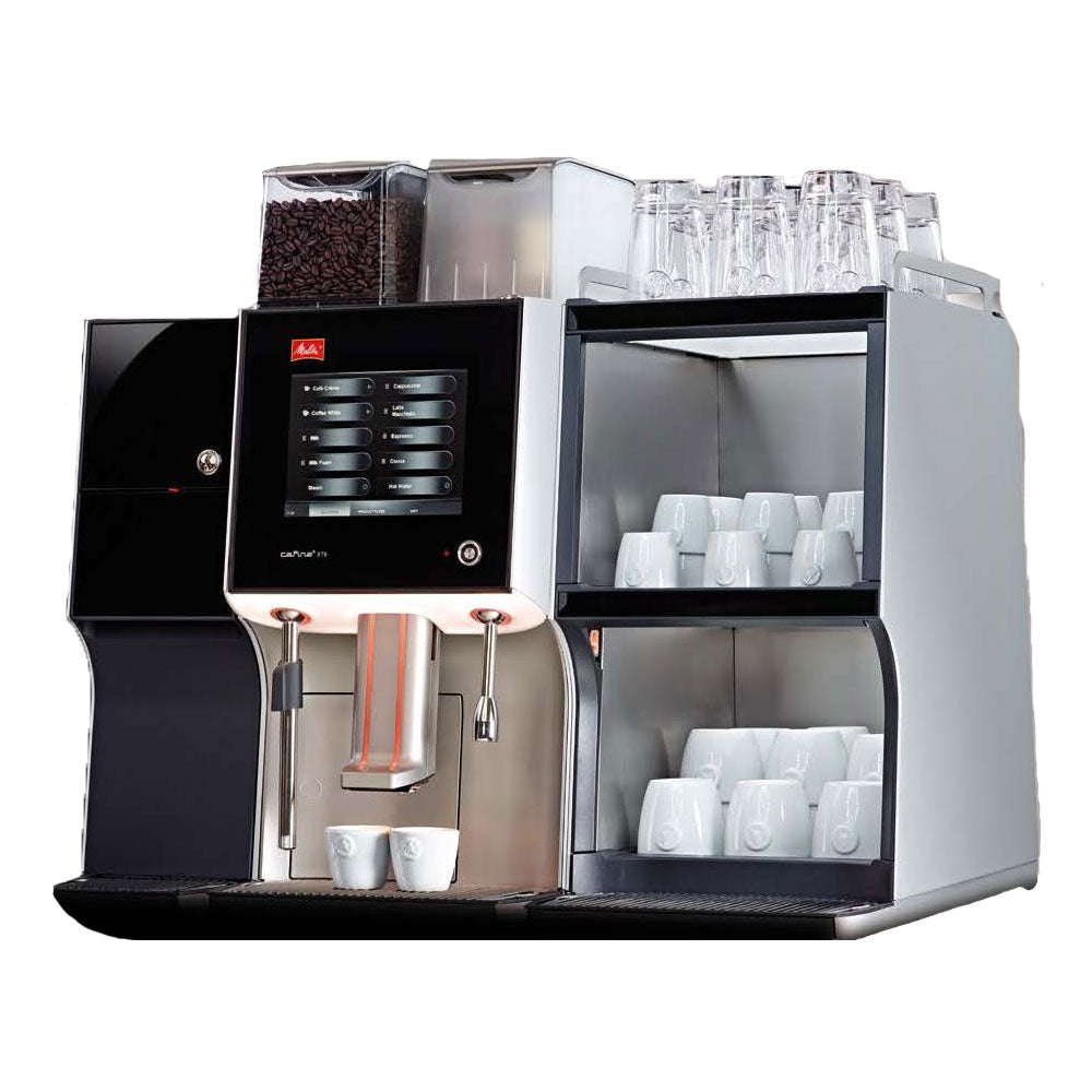 Side view of Melitta XT6 Coffee Machine with milk cooler and cup warmer